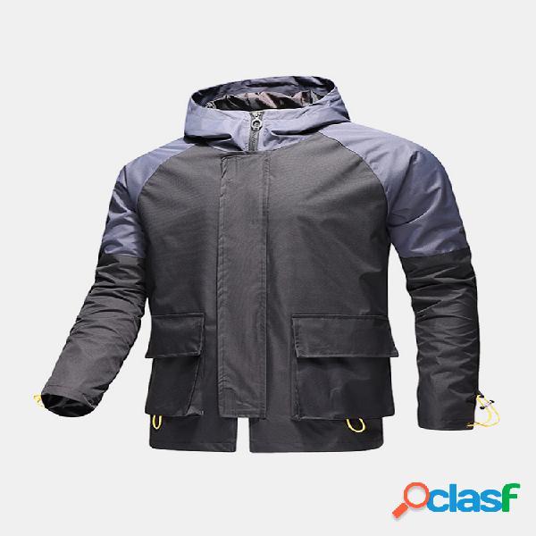 Jaquetas com capuz para homem, patchwork patchwork, zíper frouxo, cordão, punho