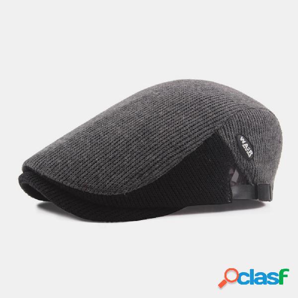 Lã masculina plus grosso manter quente patchwork cor tricotada para frente chapéu boina chapéu