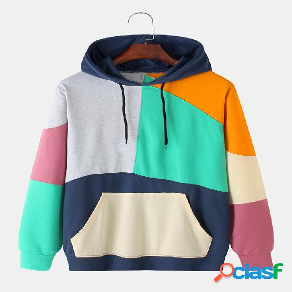 Mens irregular colorblock patchwork relaxed fit kangaroo pocket hoodies com cordão