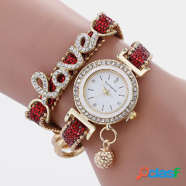 Relógio casual feminino com pulseira de liga de strass carta de multicamadas com bola de metal ajustável relógio de quartzo