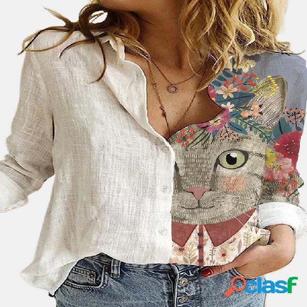 Blusa de manga comprida com gola de lapela estampada de gato desenho animado