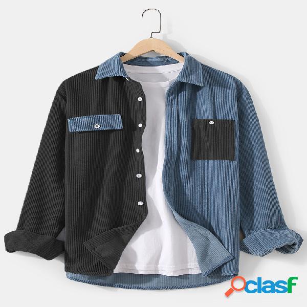 Camisa masculina de lapela patchwork de veludo cotelê com ajuste relaxado manga comprida com bolso no peito