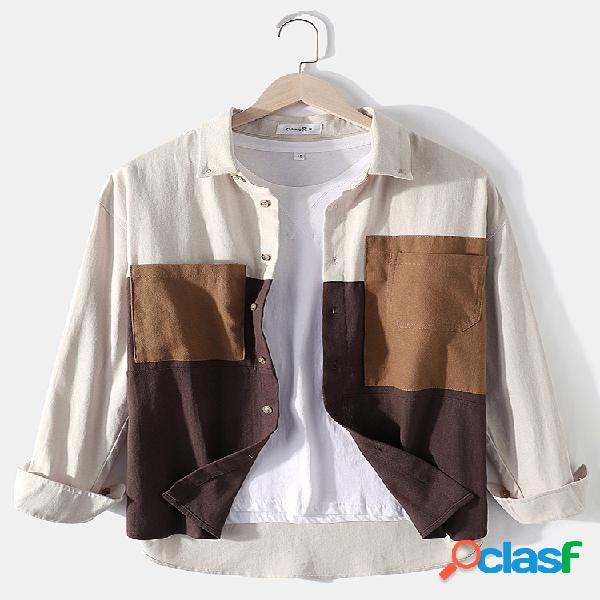 Mens 100% algodão colorblock patchwork solto bolsos no peito camisas de manga comprida