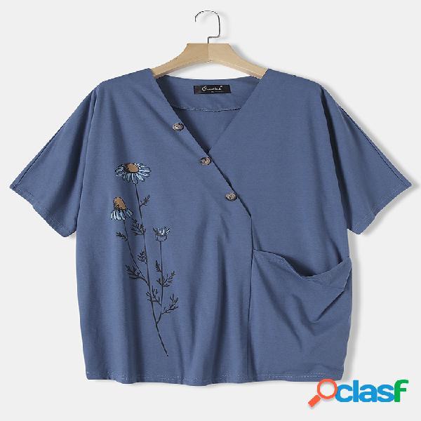 Blusa tamanho daisy print com decote em v de manga curta plus tamanho com bolso