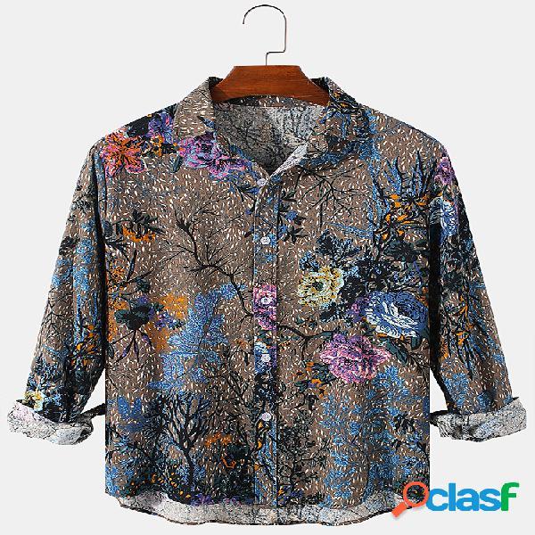 Camisas masculinas com estampa floral étnica vintage de algodão casual ajuste regular de manga longa