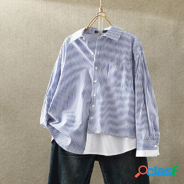 Patchwork estampado listrado plus tamanho casual camisa