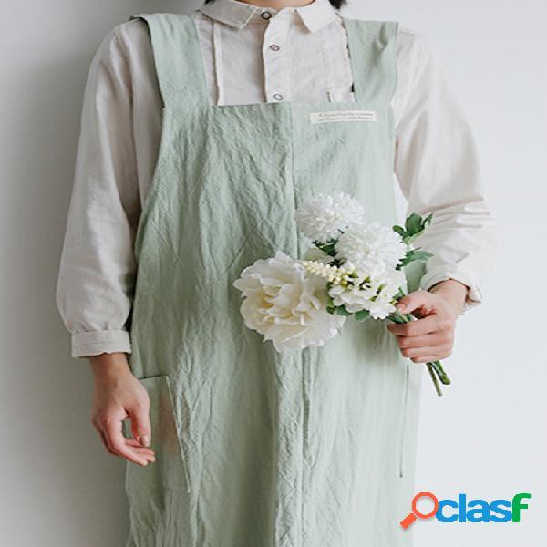 Aumente o avental literário japonês e coreano fresco serviços domésticos macacões floricultura cafeteria roupas de trabalho