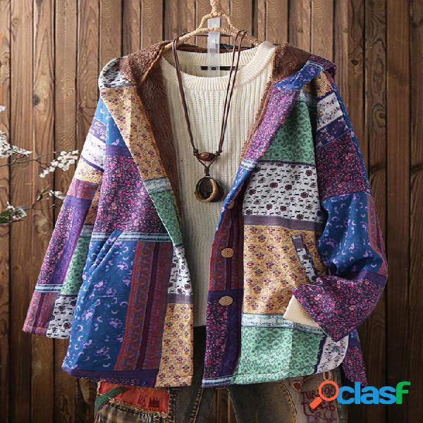 Bohenmia estampa patchwork manga comprida com capuz casaco tamanho plus