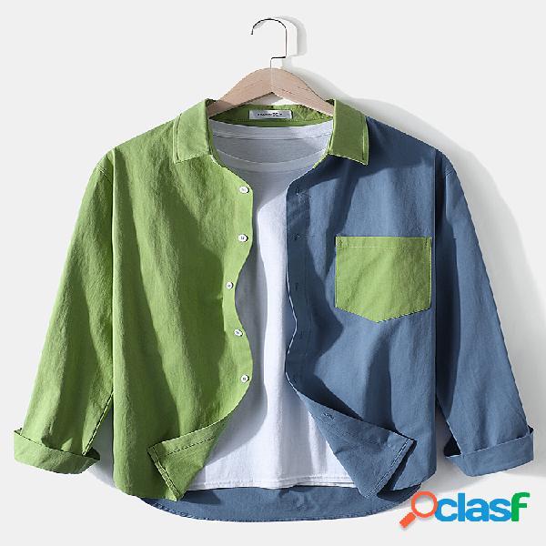 Camisas masculinas 100% algodão contraste patchwork casual bolso de peito manga longa