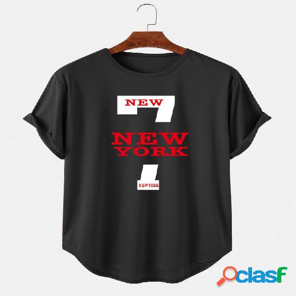 Camiseta masculina impressa em letras grandes de manga curta leve casual alta e baixa bainha