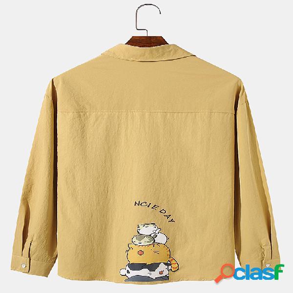 Homem voltar gatos bonitos desenhos animados impressão de cartas camisas de manga comprida com bolso