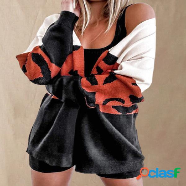 Leopard print color contrast casaco de lã casual manga comprida