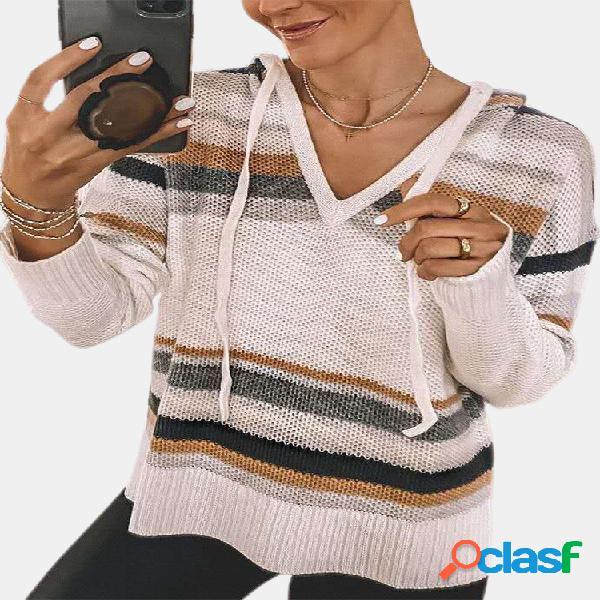 Suéter casual com capuz listrado de manga comprida com cordão para mulheres