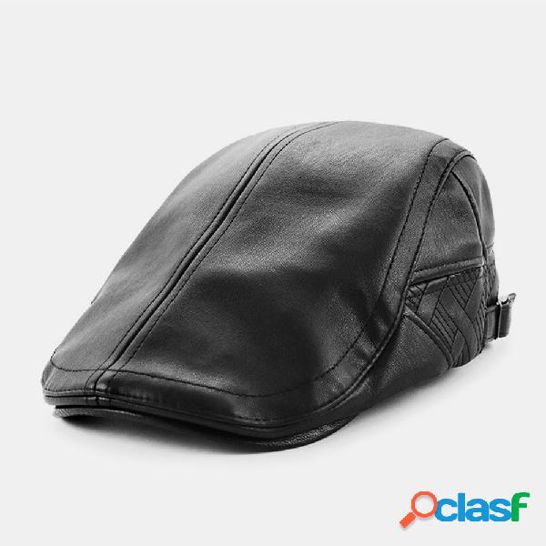Homens couro genuíno cor sólida manter aquecido plus veludo frente chapéu boina chapéu