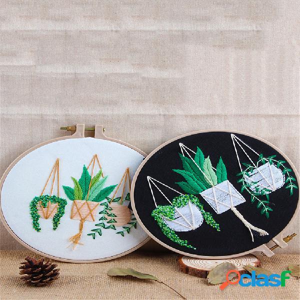 Kit de bordado faça você mesmo em círculo conjunto de ponto cruzado feito à mão para iniciantes em costura