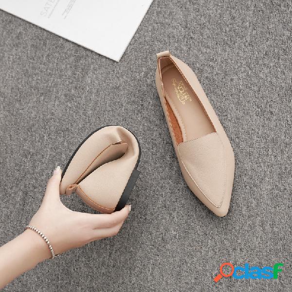 Mulheres pontiagudas cor sólida soft sapatilhas casuais