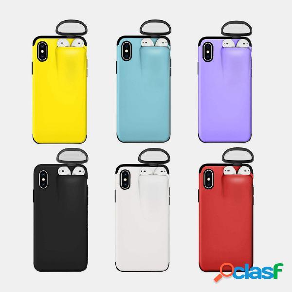 Telefone celular feminino e masculino de cor sólida caso pode acomodar airpods headset integrado