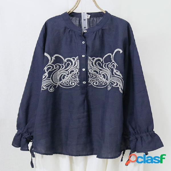Bordado manga comprida botão plus blusa tamanho