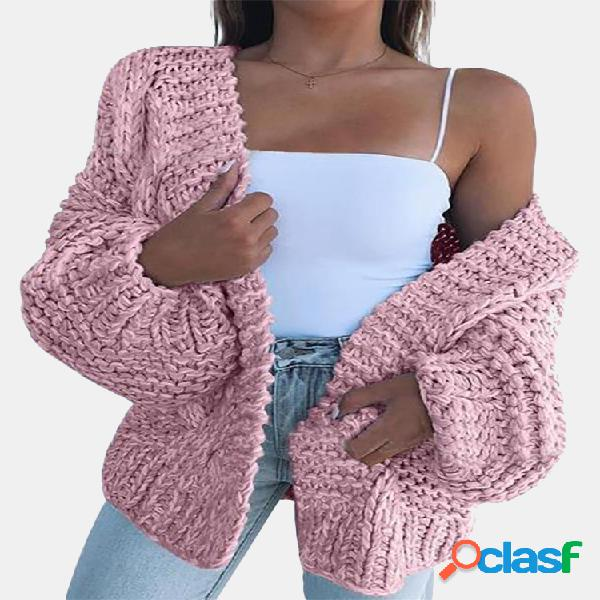 Casaco de manga comprida casual cor sólida para mulheres