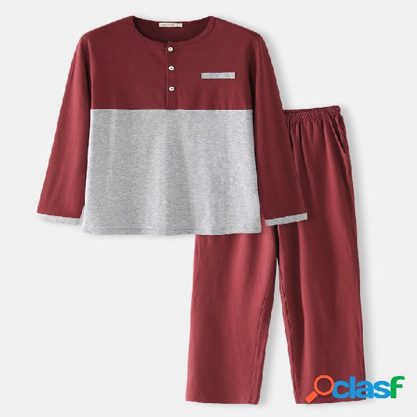 Conjuntos de pijamas respiráveis de algodão patchwork para homens