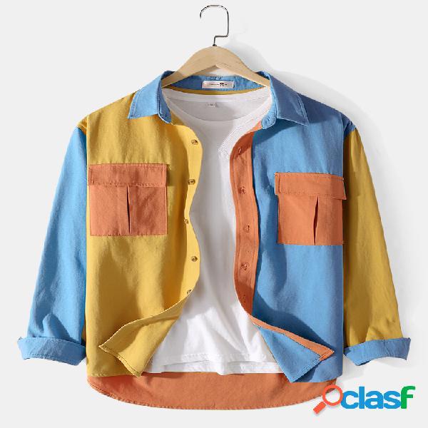Mens 100% algodão colorblock patchwork cargo camisas de manga longa com bolsos com aba