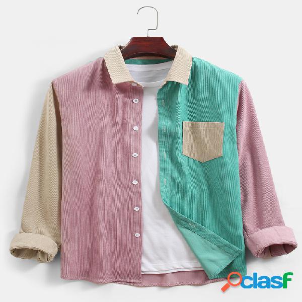 Mens veludo cotelê colorblock patchwork casual bolso no peito camisas de manga longa