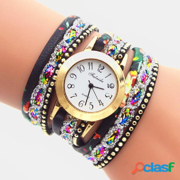 Relógio vintage colorful com impressão multicamada de strass de metal e quartzo pu