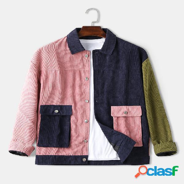 Algodão patchwork de veludo cotelê masculino duplo bolso casual ajuste regular camisas de manga comprida