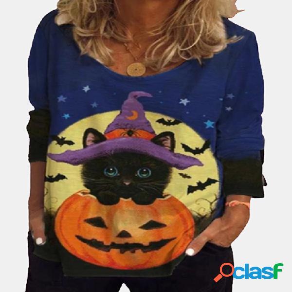 Blusa de manga comprida com estampa de gato de halloween para mulheres