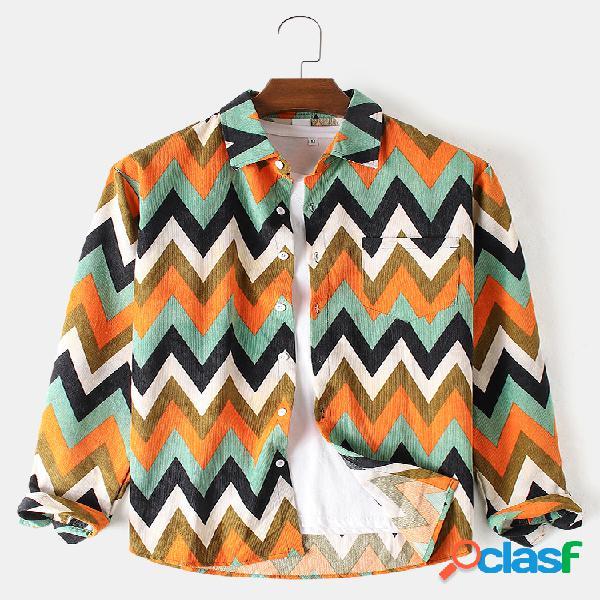 Camisas masculinas de algodão chevron de veludo cotelê com design casual solto camisas de manga longa