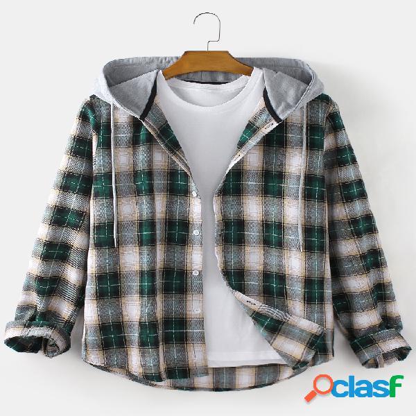 Camisas masculinas xadrez com capuz de manga comprida e confortável com cordão