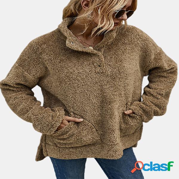 Camisola de manga longa com gola assimétrica para mulheres