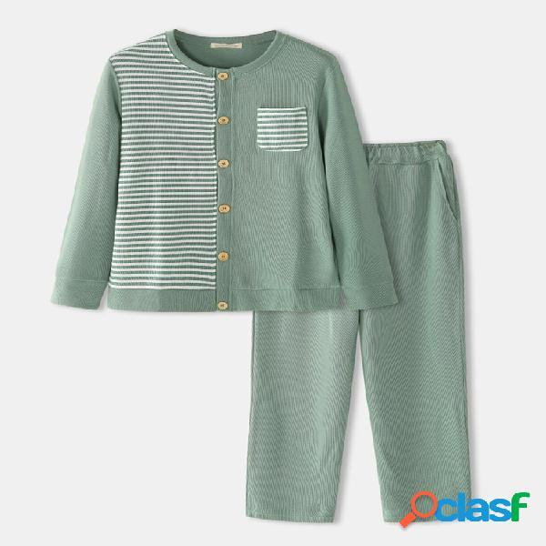 Conjuntos de duas peças, patchwork listrado masculino casual confortável manga longa manga comprida malha algodão