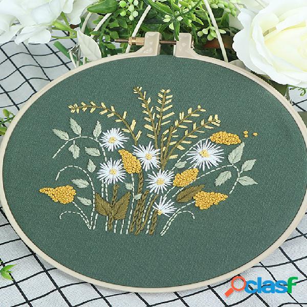 Pano faça você mesmo feito à mão novice bordado europeu flor material pacote needlework set crisântemo