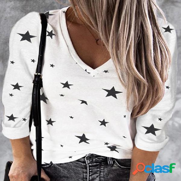 Stars print manga comprida decote em v blusa casual para mulheres