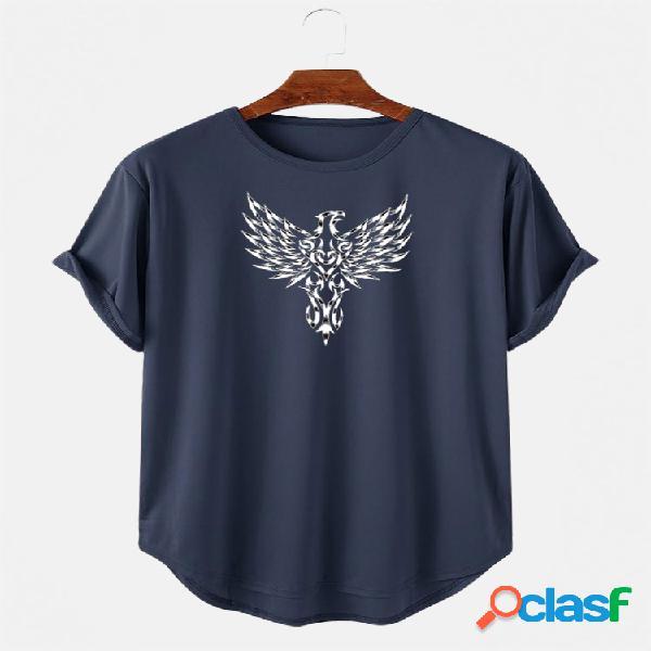Camiseta masculina estampada de manga curta leve casual alta baixa bainha