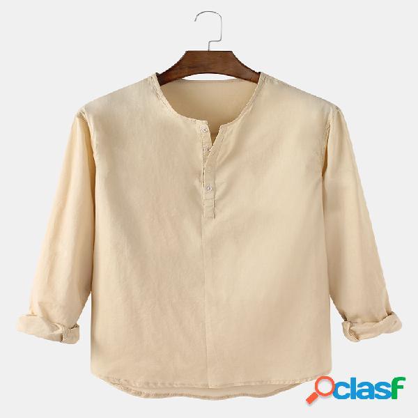 Homem algodão linho cor sólida simples casual manga longa camisas henley