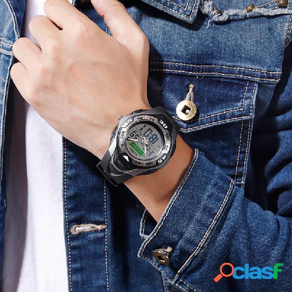 Relógio masculino esportivo ao ar livre com pulseira de plutônio alarme à prova d'água luminosa semana relógio digital multifuncional