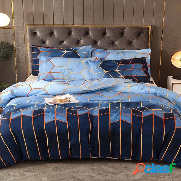 Conjunto de roupa de cama geométrica 2/3 unidades conjuntos de capa de edredão azul dourado com capa de cama de poliéster fronha queen size