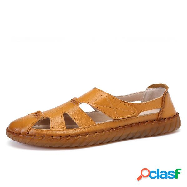 Socofy cut-out handmade stitching respirável couro de vaca antiderrapante soft sole flat sandals
