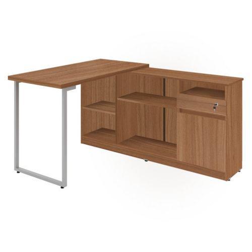 Mesa para escrit/u00f3rio em l 1 gaveta 1 porta metalic