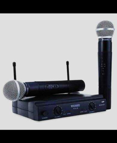 Sistema sem fio profissional com 2 microfones