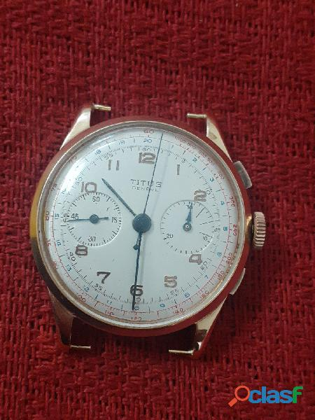 Relogio marca titus caixa em ouro cronografo