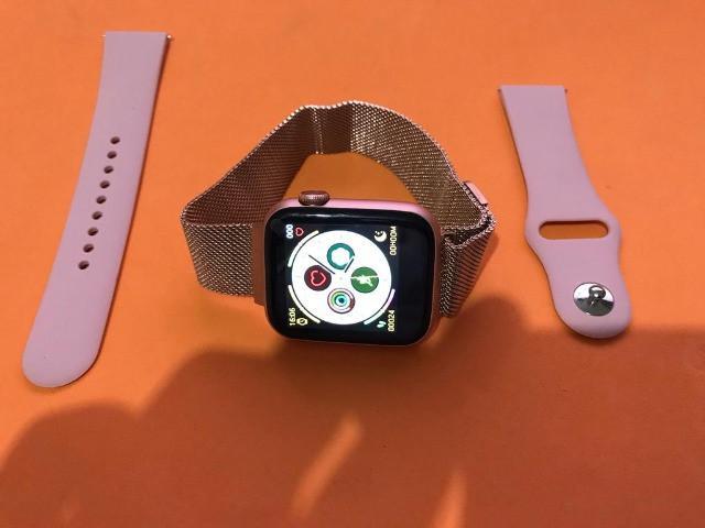 Smartwatch original app serie v 5 44 mm aluminio e rose gold