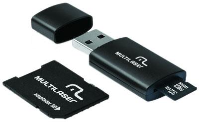 Cartão sd e pendrive 64gb multilaser mc115 classe 10