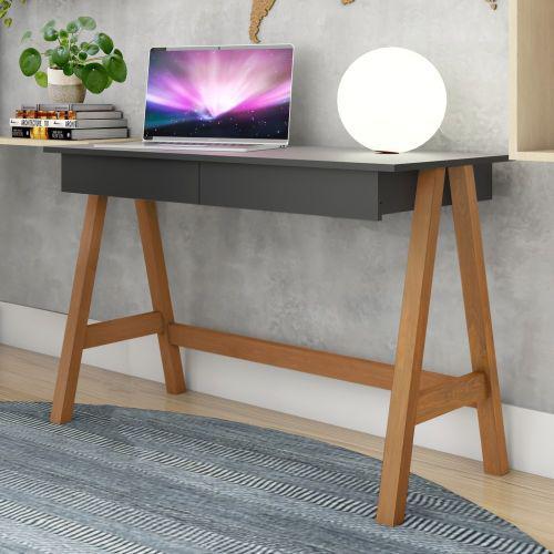 Mesa computador cavalete retr/u00f4 am/u00eandoa preto