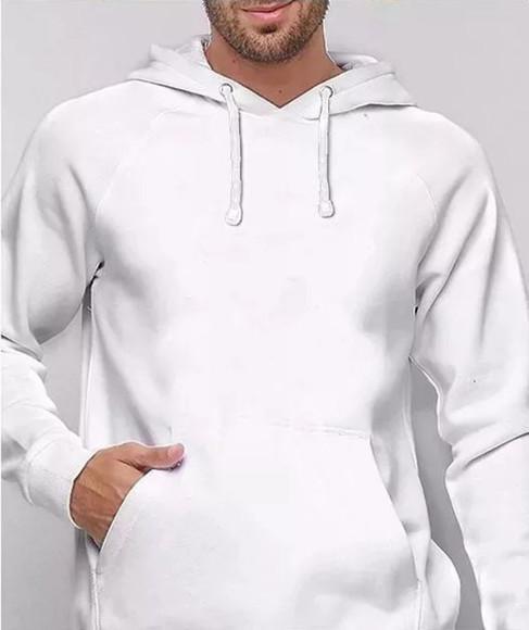 Blusa moletom masculino capuz bolso jaqueta casaco branco