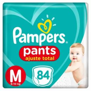 Fralda pampers pants bag ajuste total m com 84 unidades <div