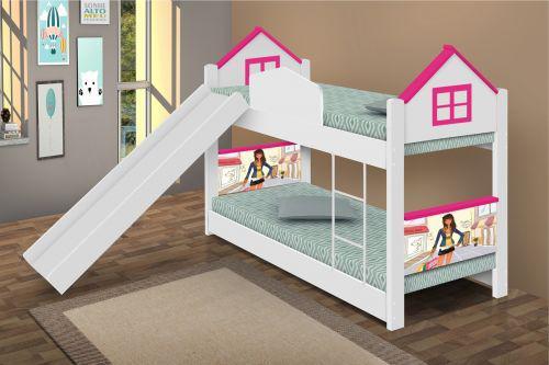 Beliche infantil casa menina mo/u00e7a com escorregador e