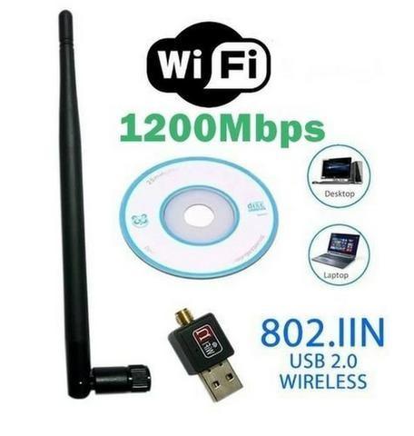 Adaptador receptor antena wi-fi usb 2.0 wireless 1200mbps